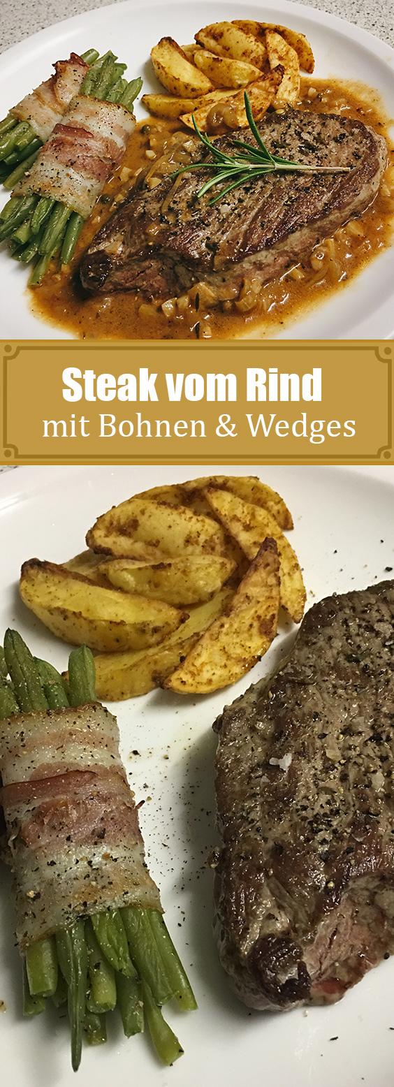 Rindersteak mit Pfeffersauce, Kartoffelwedges und Bohnen im Speckmantel