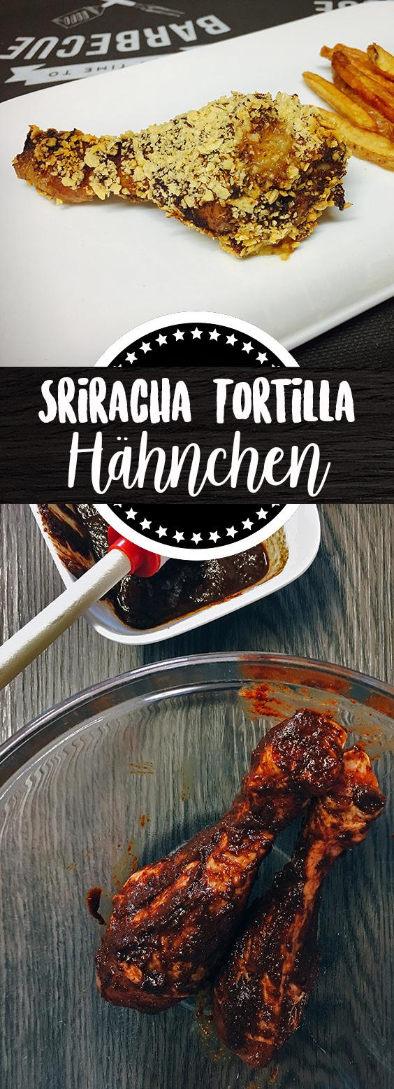 Sriracha Hähnchenschlegel mit Tortilla-Knusperkruste