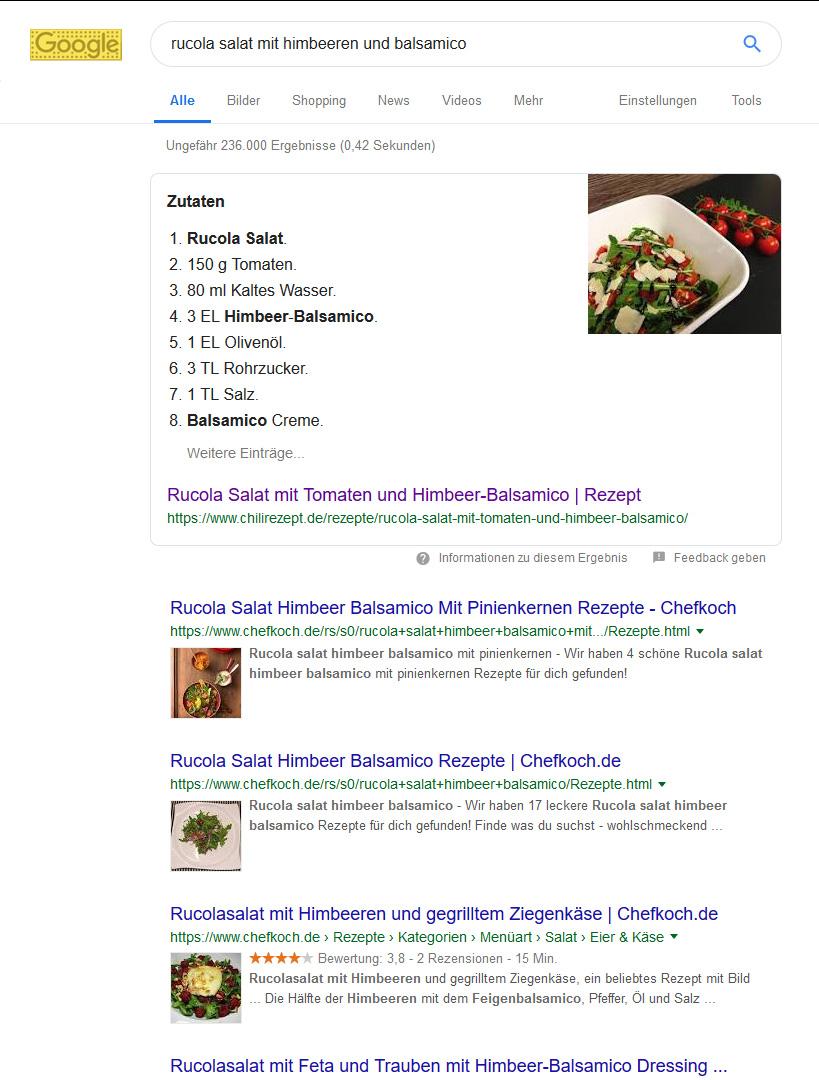 Food Blog Google Rich Snippet