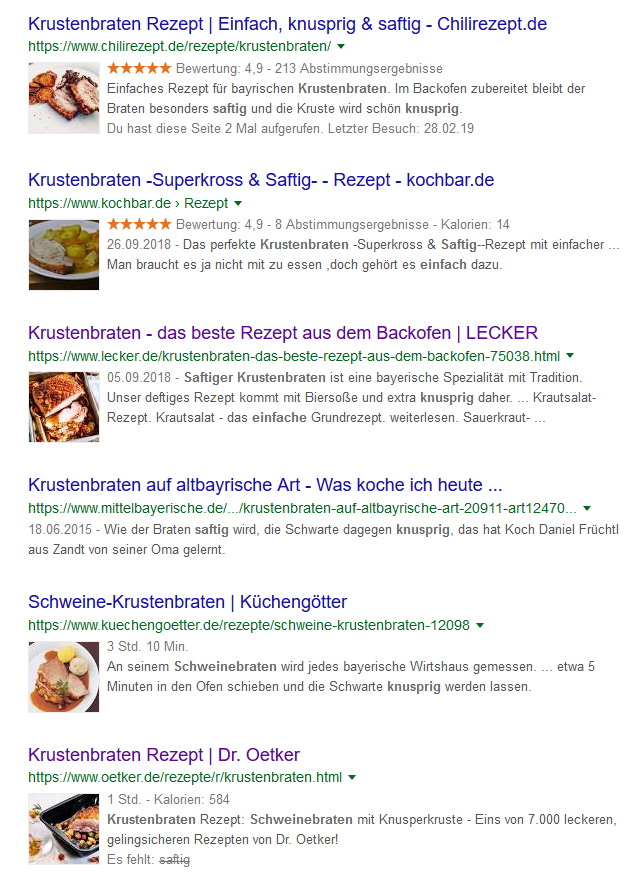 Food Blog Strukturierte Daten