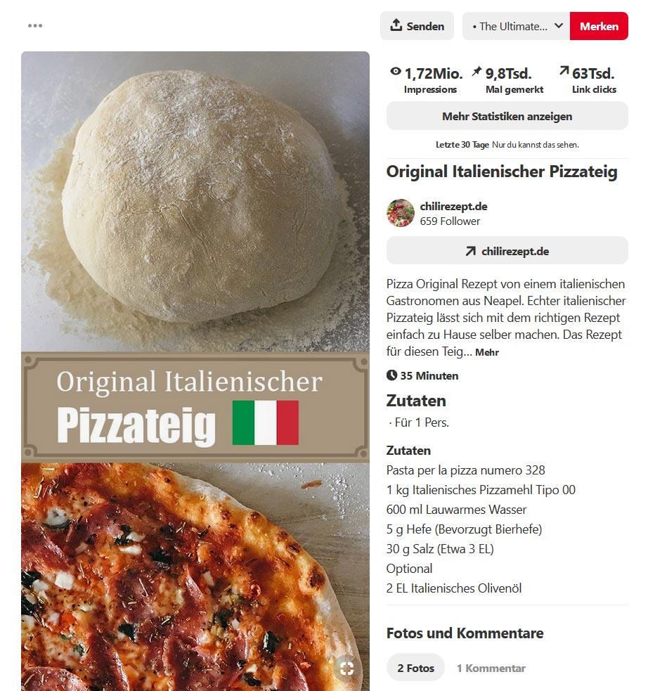 Pinterest Analytics Pin Statistik