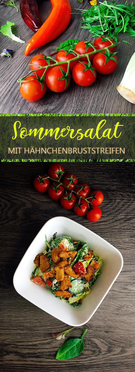 Sommersalat mit Hähnchenbruststreifen Rezept