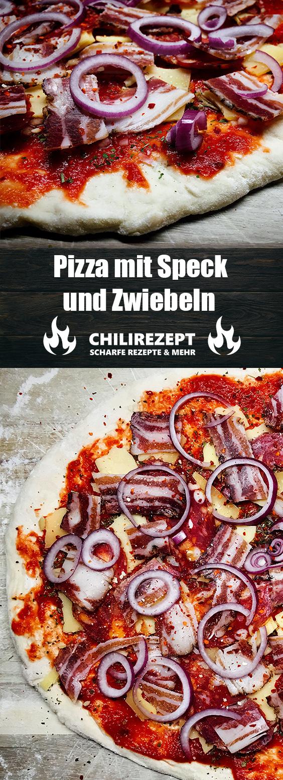 Pizza mit Speck und Zwiebeln Rezept