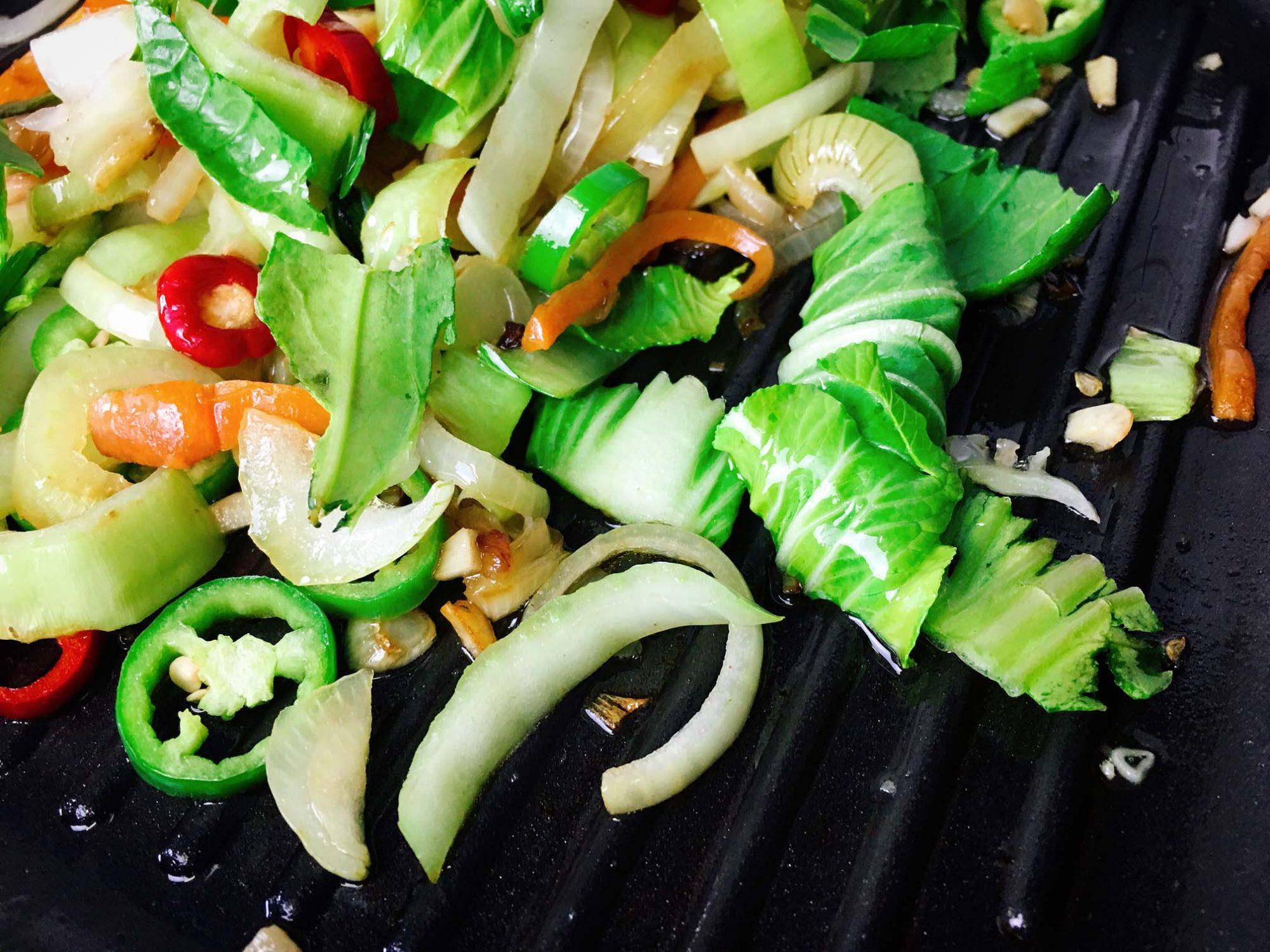 Pak Choi Gemüse Pfanne