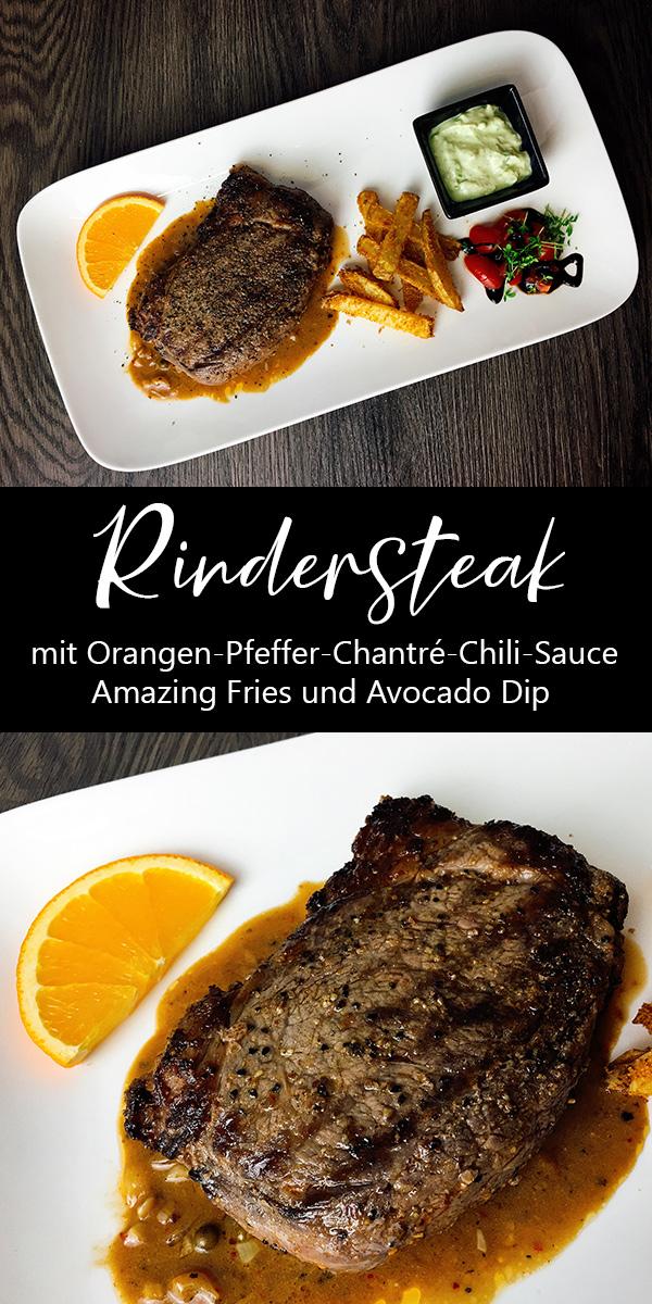 Rindersteak mit Orangen-Pfeffer-Chantré-Chili-Sauce, Amazing Fries und Avocado Dip Rezept