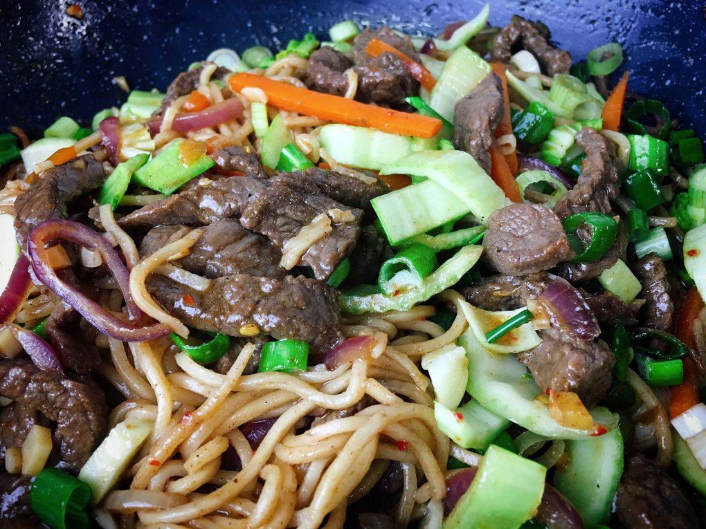 Rindfleisch Wok Pfanne mit Gemüse